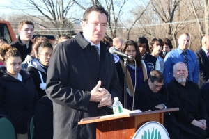 Gov. Dannel Malloy at the Connecticut River Academy groundbreaking ceremony in January.