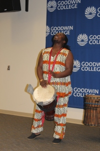 A drummer from Sankofa Kuumba, a Hartford-based African dance troupe, keeps a beat during opening ceremonies for Black History Month.