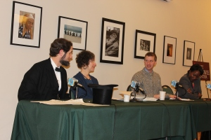 Goodwin English Professor Randy Laist, right, discusses the recent Lincoln pop culture phenomenon, drawing the interest of the 16th President. Katherine Kane, Executive Director of the Stowe Center,also participated in the Tuesday night panel.
