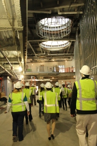 Goodwin employees tour the new Connecticut River Academy, scheduled to open on the River Campus during the 2013-14 academic year.