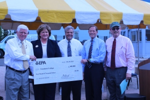 Congressman John Larson, East Hartford Mayor Marcia Leclerc, Goodwin College President Mark Scheinberg, Senator Richard Blumenthal, and EPA Region Administrator Curt Spalding at the grant presentation on May 30.