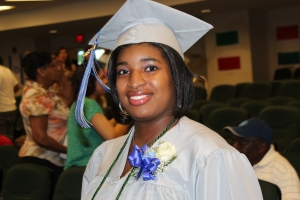 Taylor Wiggins of Windsor flashes a smile as she prepares to graduate from the Connecticut River Academy.