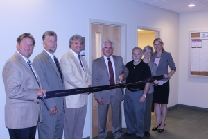 Goodwin College dedicated classroom 213 to Capital Studio Architects, LLC on Wednesday, June 19. Pictured from left to right: Goodwin Vice President of Economic and Strategic Development Todd Andrews, Goodwin Vice President of Physical Facilities and Information Technology Bryant Harrell, Goodwin President Mark Scheinberg, Capital Studio Architects, LLC Partners David Holmes and Pat Mancuso, Goodwin Director of Advancement Holly Winters and Goodwin Vice President of Advancement Brooke Penders.