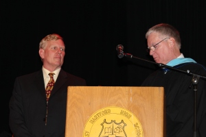 Goodwin's Bill Magnotta, left, is honored by CIBA Principal Art Arpin.