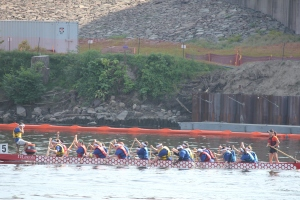 Goodwin's Dragon Boat team keeps a steady rhythm in its first heat. Photos courtesy of Marilyn Nowlan.