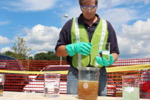 Geo-Cleanse president James Wilson demonstrates the oxidation process.