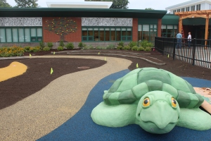 Turtle slides are just one of the many unique features of the new Goodwin College Early Childhood Magnet School.