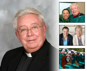 Top right: Dr. Maria Ellis and Father Rohan; Middle right: Dr. Maria Ellis and Ann Zajchowski; Bottom right: Father Rohan speaking at Commencement