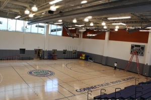 The gymnasium has capacity for the entire school. The ribbon-cutting ceremony will take place at center court on January 7.