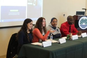 Panelists described their experiences in college and the transition from high school to Goodwin College.