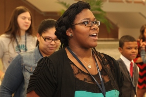 Erica Beavers, a CTRA senior, reacts during the ceremony. Photo courtesy of John Muldoon.
