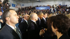 President Obama stops to meet with the crowd at CCSU during his March 5 visit. Photo contributed by State Rep. Robert Sanchez.