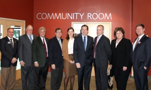 From left to right: Goodwin College Asst. Director of College Relations Guy LaBella, East Hartford Chamber of Commerce President Tim Coppage, Goodwin President Mark Scheinberg, State Senator Gary LeBeau, AT&T Director of External and Legislative Affairs Abigail Jewett, Governor Dannel P. Malloy, AT&T Connecticut President John Emra, East Hartford Mayor Marcia Leclerc, East Hartford Chamber of Commerce Chairperson Joe Bierbaum.