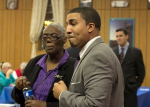Sanchez with Goodwin employee Beverly Carter during a fundraising event.