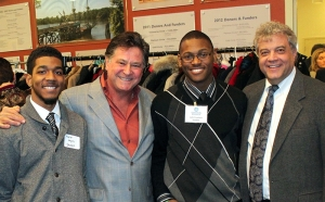Leonard pictured with Scheinberg and two Goodwin students,  Marlon Jengelly and John Fountain.