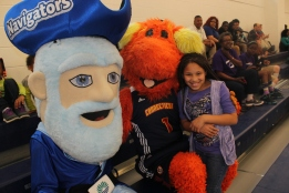Goodwin College  and Connecticut Sun mascots, Ebb and Blaze with CT Sun fan, Ivy Caudill